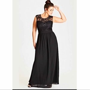 City Chic Black Beaded Lace Gown